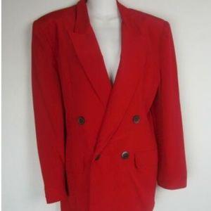 Hugo Buscati Jackets & Coats - Hugo Buscati Red Smooth Silk Double Breast Blazer